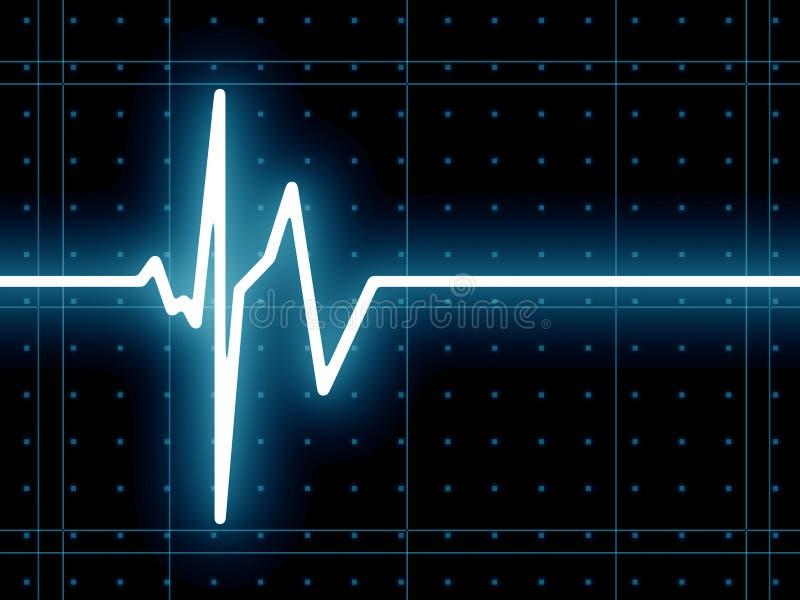 Heart beat ECG. ECG screen with heart beat stock illustration
