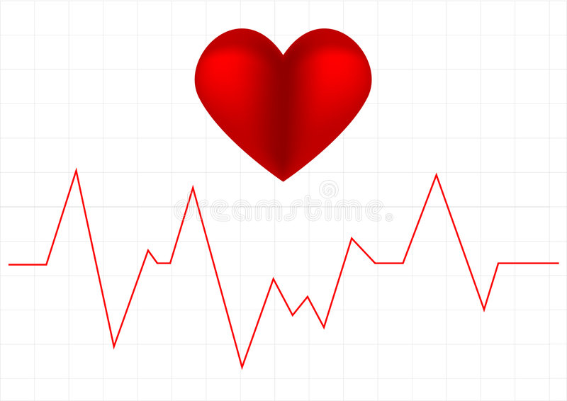 Heart beat graph and a heart symbol royalty free illustration