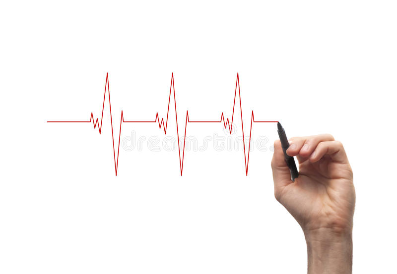 Heart Beat. Hand with a pen drawing heart beats royalty free stock image