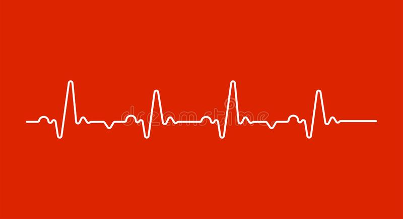 Heart beat monitor pulse line art icon for medical apps and websites. breathing and alive sign red love heart. royalty free illustration