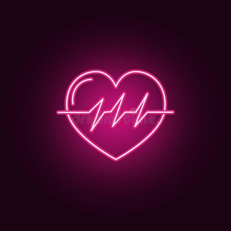 Heart Beat neon icon. Elements of Medecine set. Simple icon for websites, web design, mobile app, info graphics. On dark gradient background vector illustration