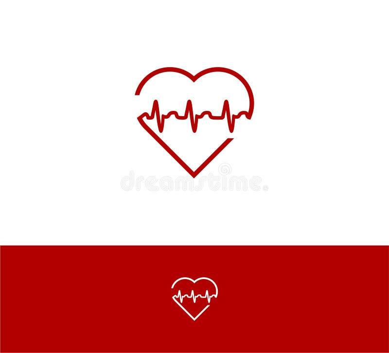 Heart beat outline style logo template vector illustration