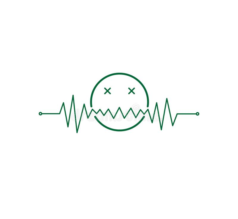 heart beat pulse line graphic with a toxic emoticon vector illustration royalty free illustration