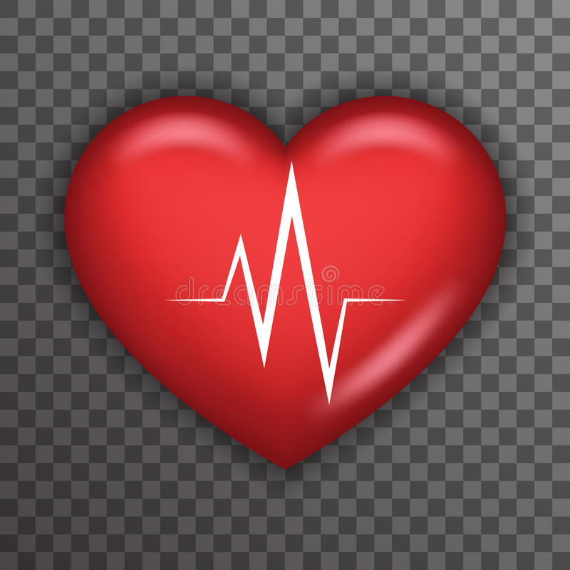 Heart Beat Rate Pulse Realistic 3d Healthcare Medical Care Symbol Transparent Background Icon Template Mock up Design vector illustration