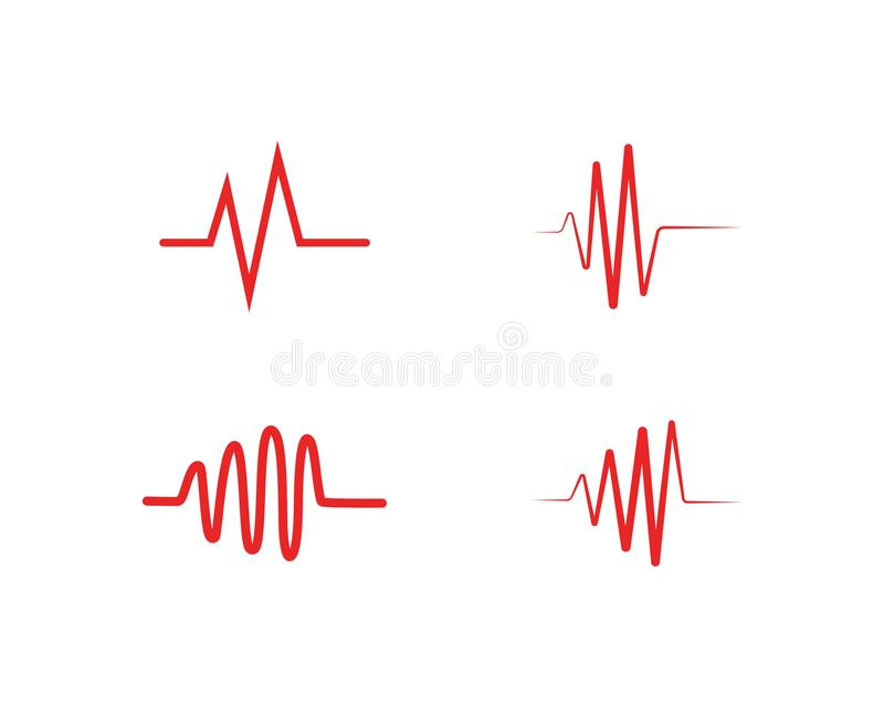 Heart beat wave logo line vector. Heart beat wave logo line vector illustration