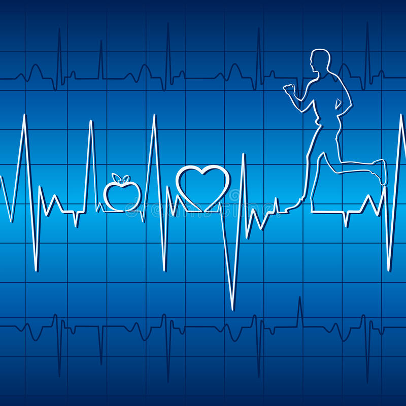 Free Heart Beat With Apple ,heart And Running Men In Gr Stock Photo - 29080460