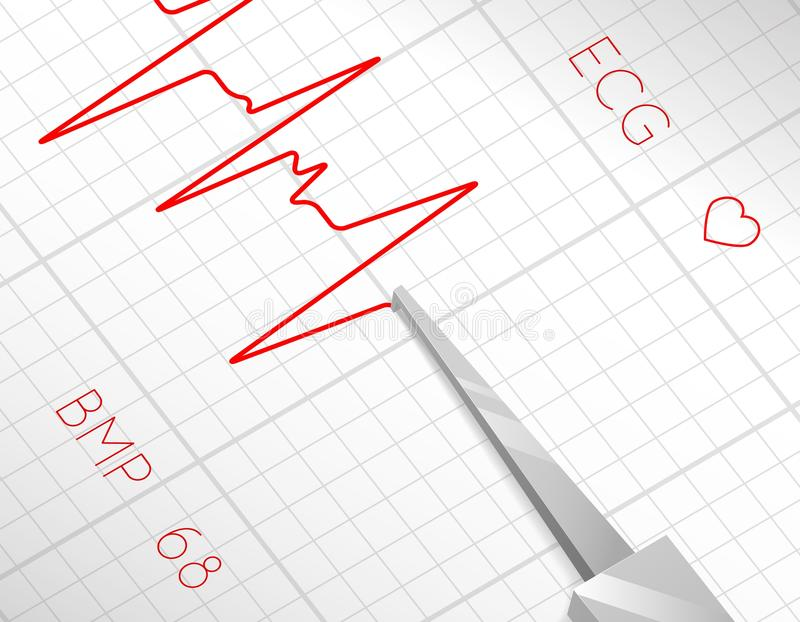 Heart beats cardiogram process royalty free illustration