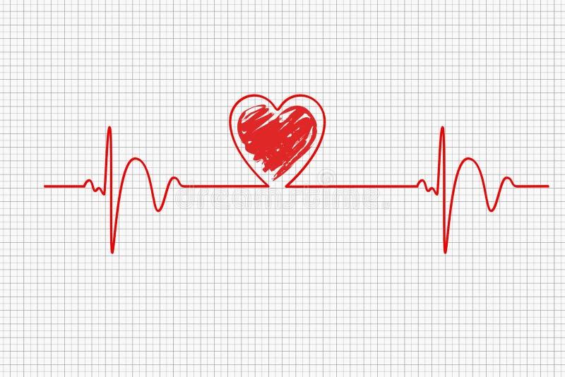 Heart beats, cardiogram. Pulse of life forming heart shape. Medical design. Illustration vector illustration
