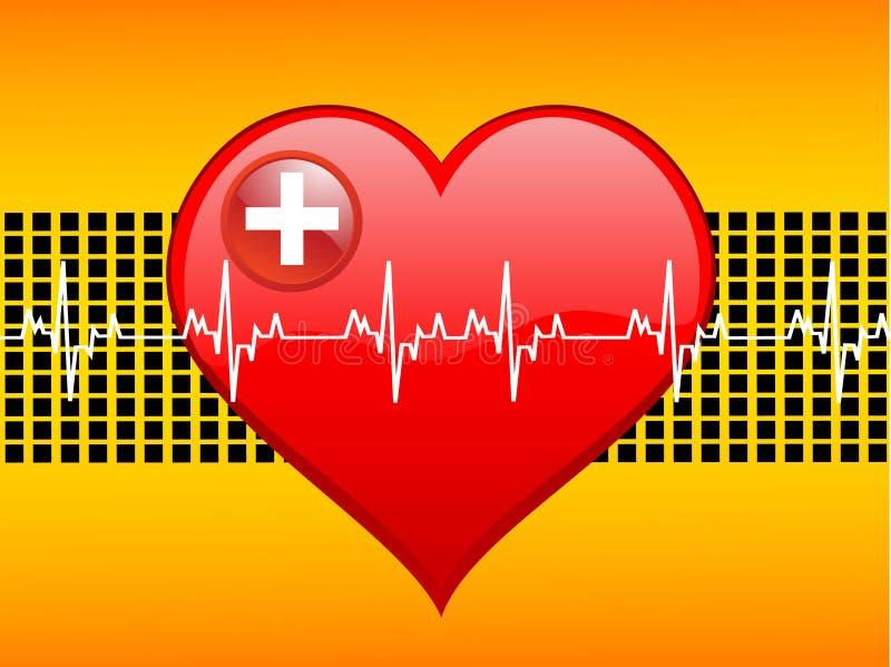 Heart-beats on graph vector illustration