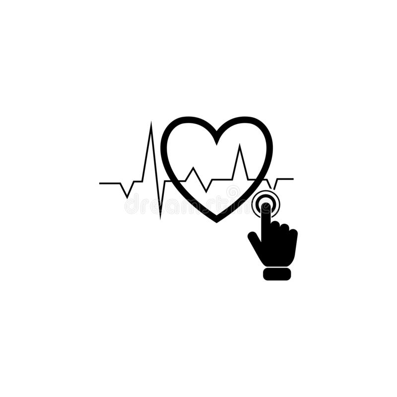 heart beats graph on touch screen icon. Element of touch screen technology icon. Premium quality graphic design icon. Signs and sy royalty free illustration