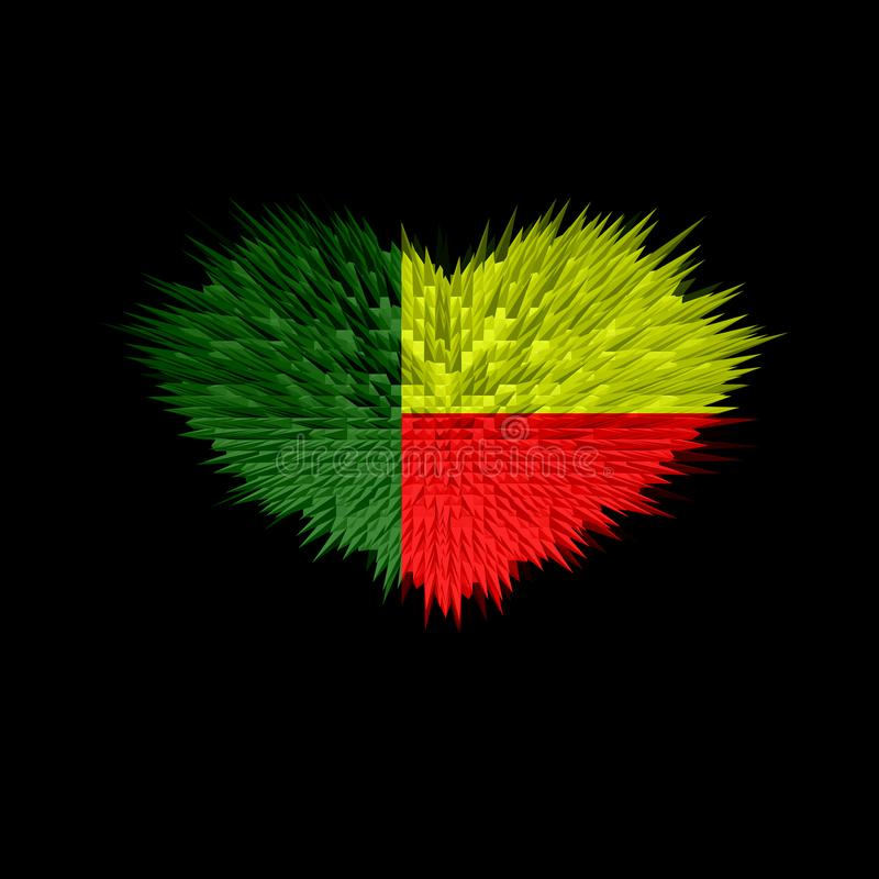 The Heart of Benin Flag. stock images