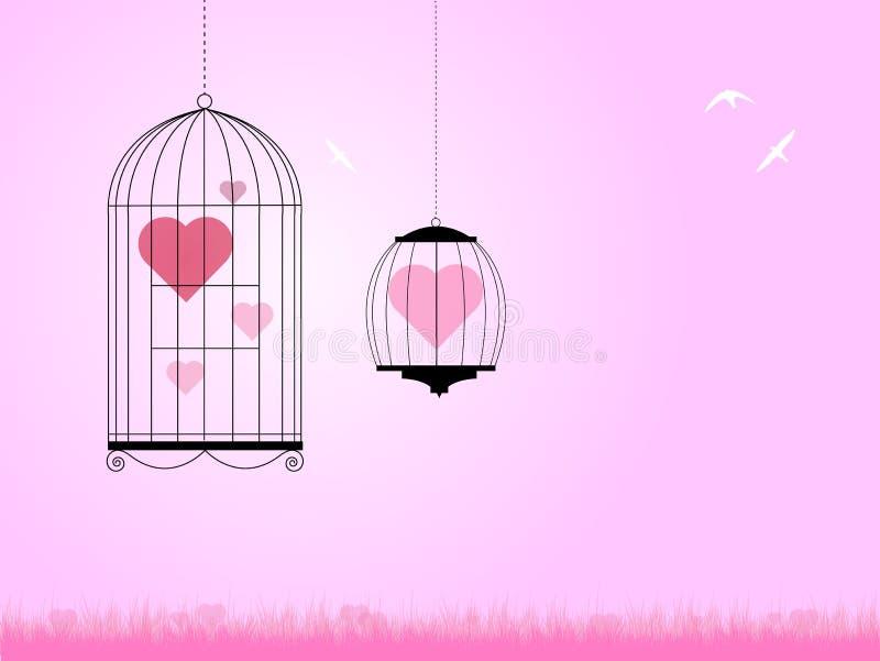 Download Heart in bird cages stock illustration. Illustration of flora - 23119379