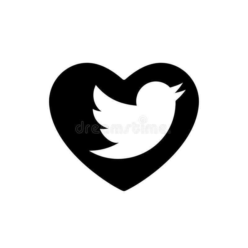 Heart black Bird icon, Love symbol. Social media sign network twitter. Valentines day, emblem, Flat style for graphic design, royalty free illustration