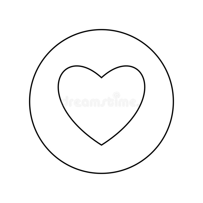 Heart black color icon in circle or round outline vector illustration stock illustration