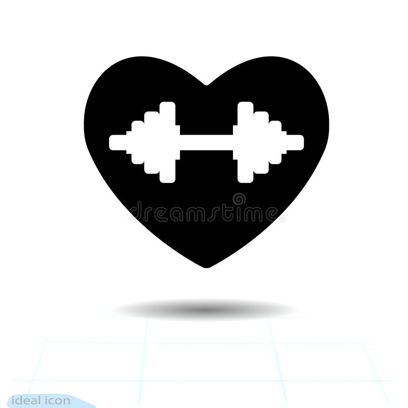 Heart black icon, Love symbol. The silhouette beautiful dumbbell floats in heart. Valentines day sign, emblem, Flat style f. Or graphic and web design, logo vector illustration