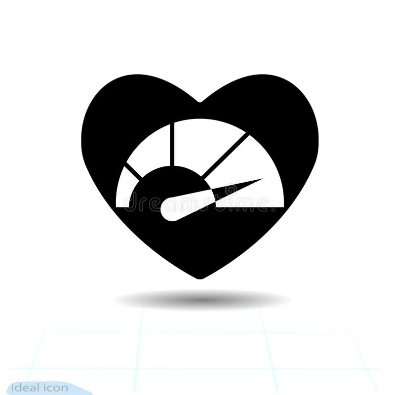 Heart black icon, Love symbol. Speedometer in heart. Valentines day sign, emblem, Flat style for graphic and web design, lo stock illustration