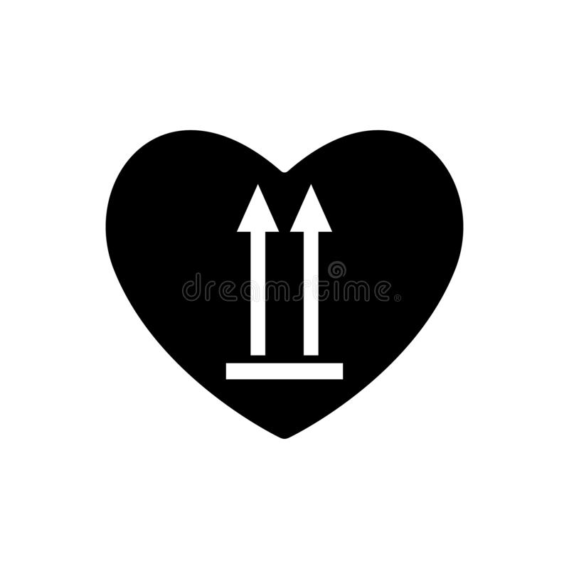 Heart black icon this side up . Marking of cargo in heart. Valentines day sign, emblem. Packaging arrows indicating top side of pa. Ckaging cargo. Handled so stock illustration