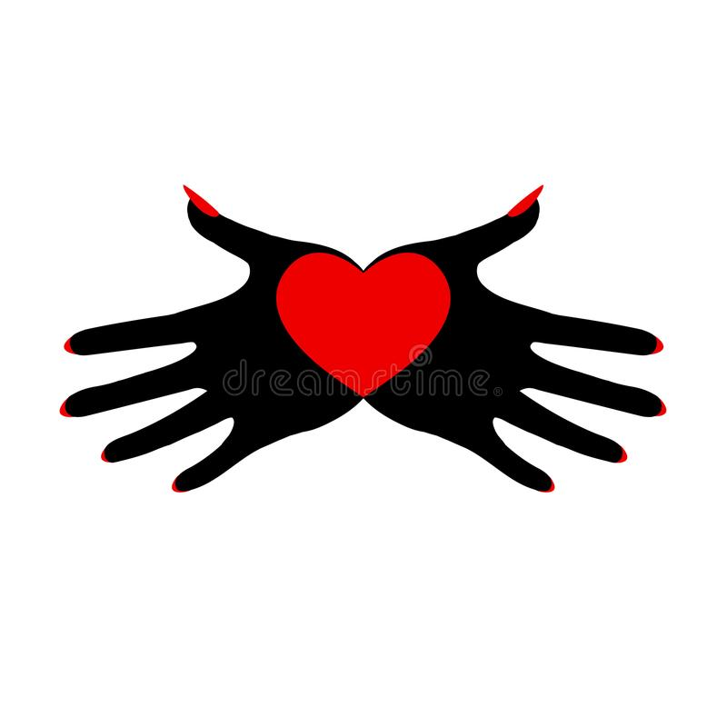 Heart in black palms. A demonic image. The symbol of the fatal passion. Hand drawn vector illustration isolated on white, logo, t-shirt design vector illustration
