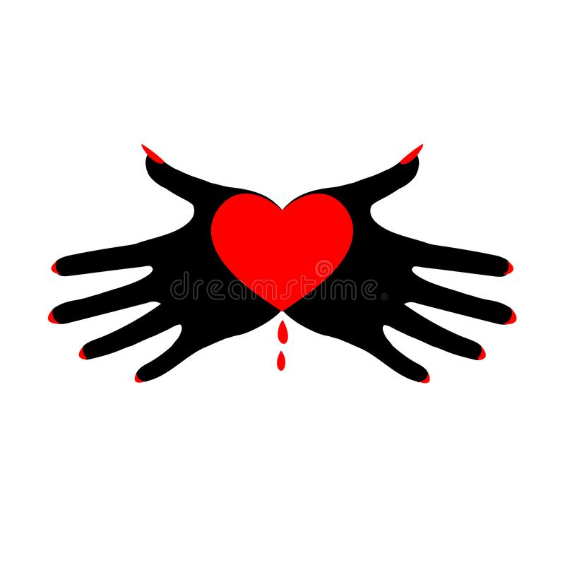 Heart in black palms. Demonic image. Symbol of the fatal passion. Template for Valentine`s day, hand drawn vector illustration isolated on white, logo, t-shirt royalty free illustration