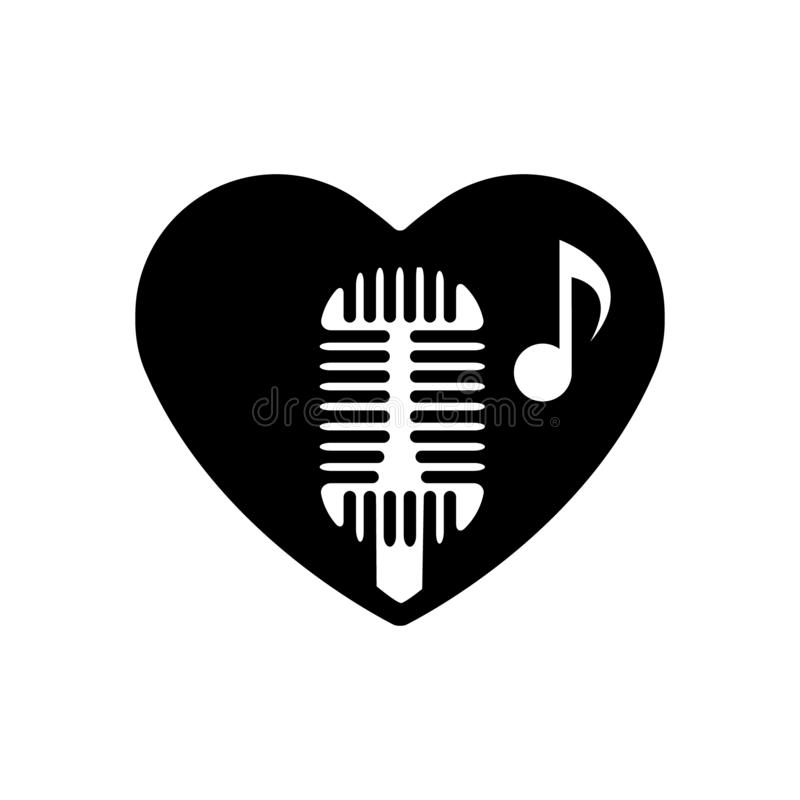 Heart black is symbol retro microphone. Valentines day for singing and vocals. Icon, Love symbol. Emblem flat style for graphic an stock illustration