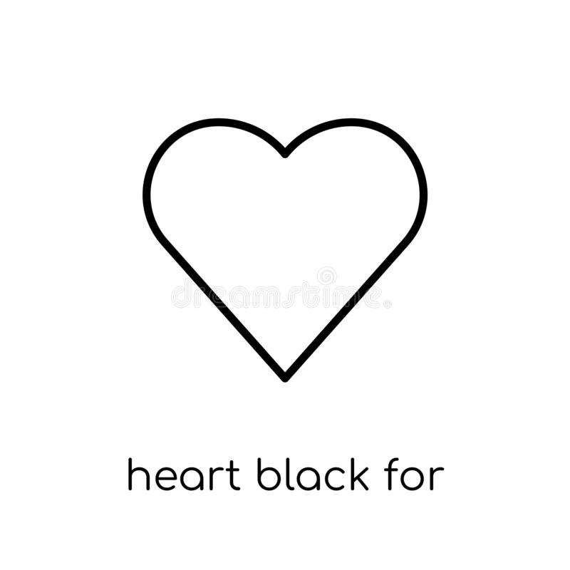 Heart black for valentines icon. Trendy modern flat linear vecto royalty free illustration