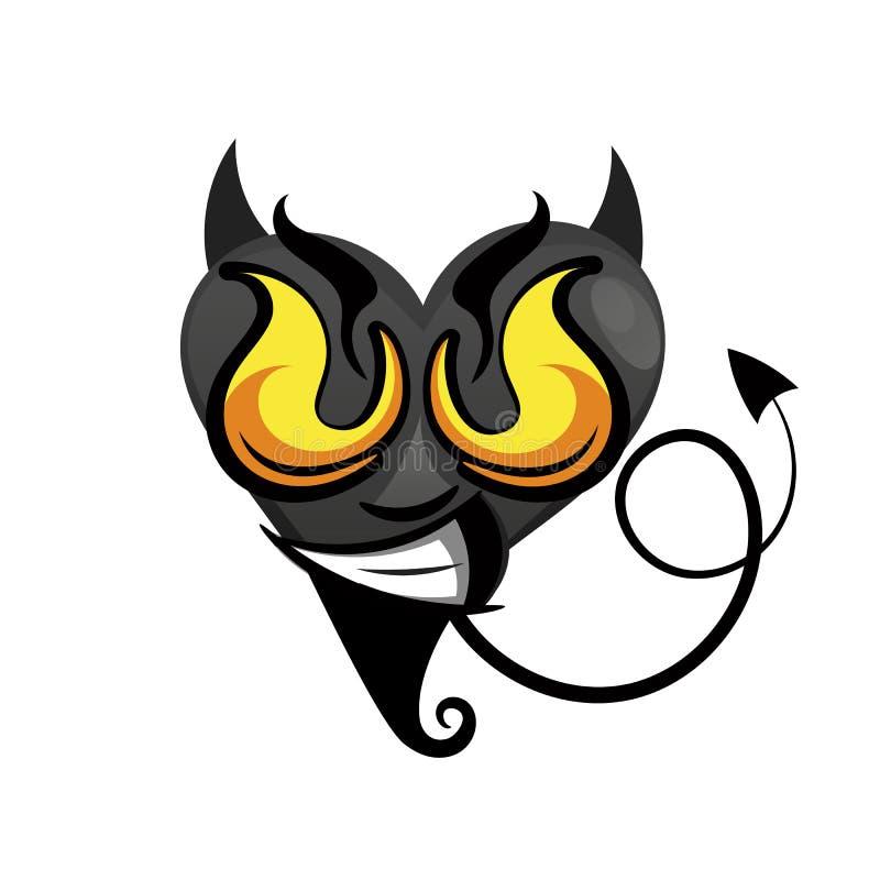 Heart. Black vector icon. Devil heart illustration stock illustration