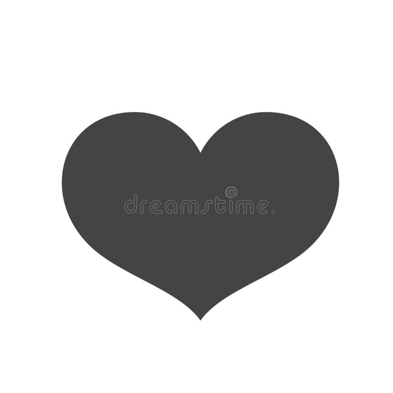 Heart. Black vector icon. Black heart on a white background for cards, cards, logo royalty free illustration