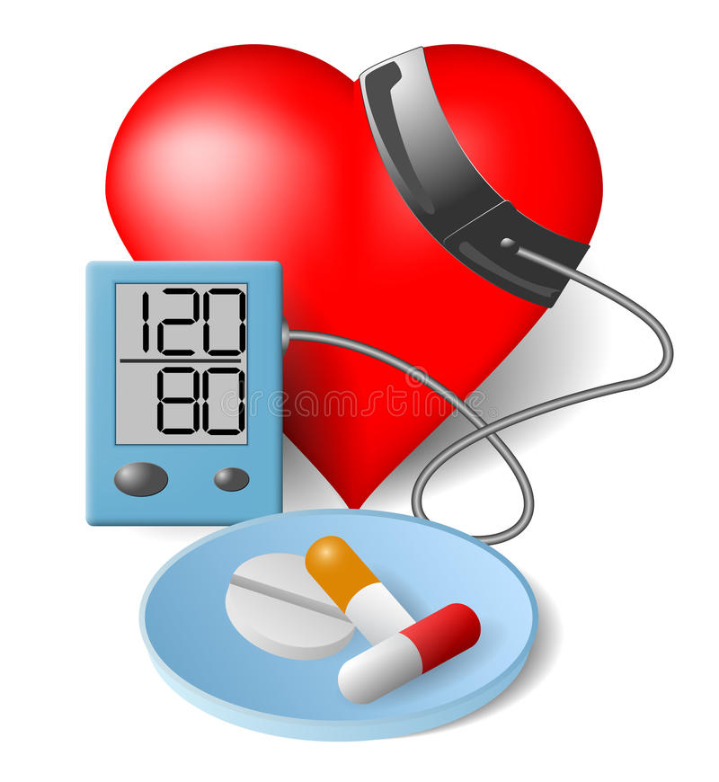Heart Blood pressure monitor and pills royalty free illustration