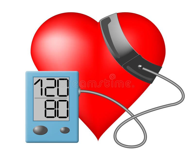 Heart - Blood pressure monitor. Heart and blood pressure monitor on a white background stock illustration