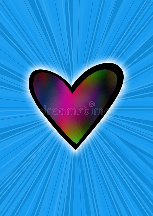 Heart on blue royalty free stock photography