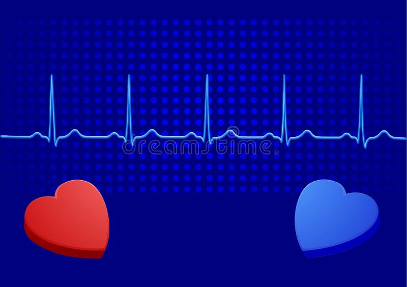 Heart& blue electrocardiogram royalty free stock images