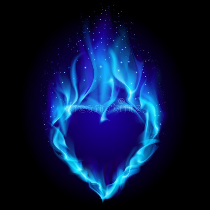 Heart in blue fire stock illustration