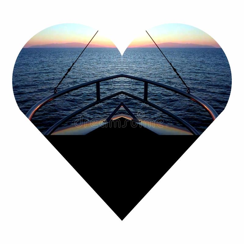 Heart boat. Afternoon islands nature sea royalty free illustration