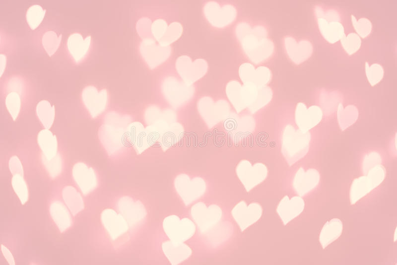 Heart bokeh background. Pastel pink color blurred texture. Lights vector illustration