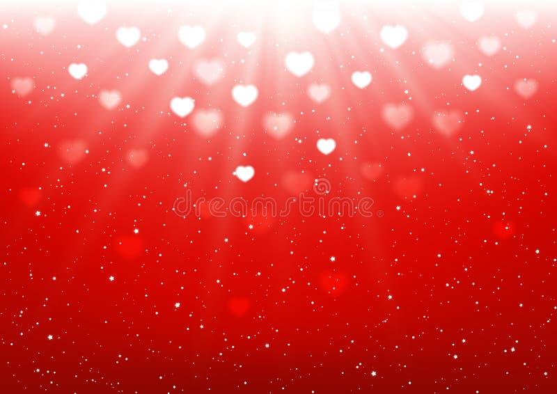 Heart bokeh on red background vector illustration