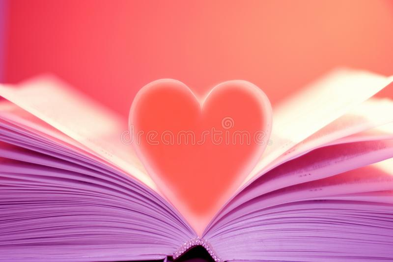 Download Heart on the book stock photo. Image of romantic, love - 17162732