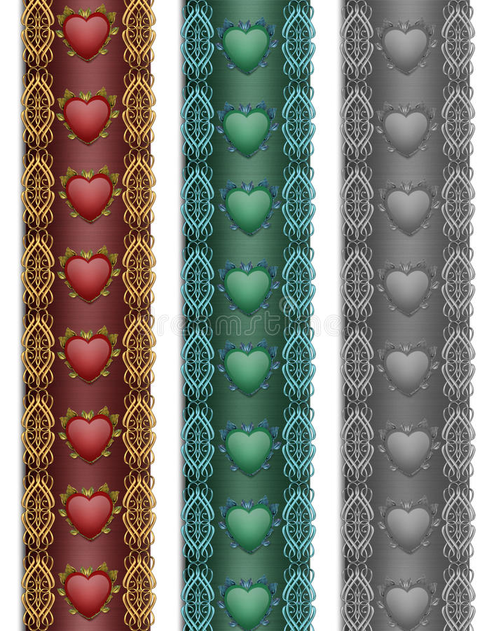 Heart Borders ornamental stock images