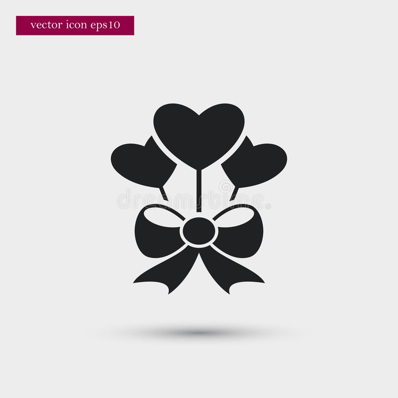 Heart with bow icon. Simple romance element illustration. Valentine symbol design from love collection. Can be used in web and mobile royalty free illustration