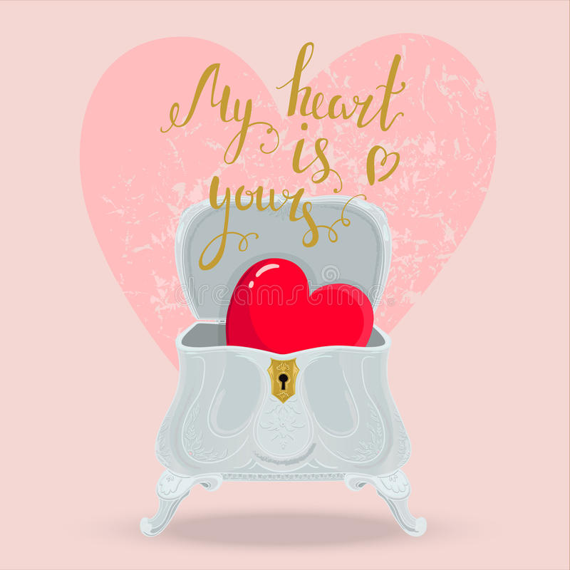 Heart box. Beautiful, romantic, Valentines card. Bright shiny red heart in a vintage luxurious silver box. Nice calligraphic handwriting love message stock illustration