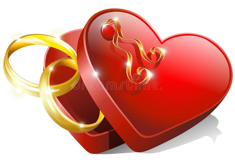 Heart Box with Wedding Rings vector illustration