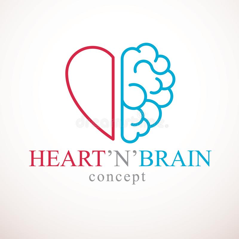 Heart and Brain concept, conflict between emotions and rational vector illustration