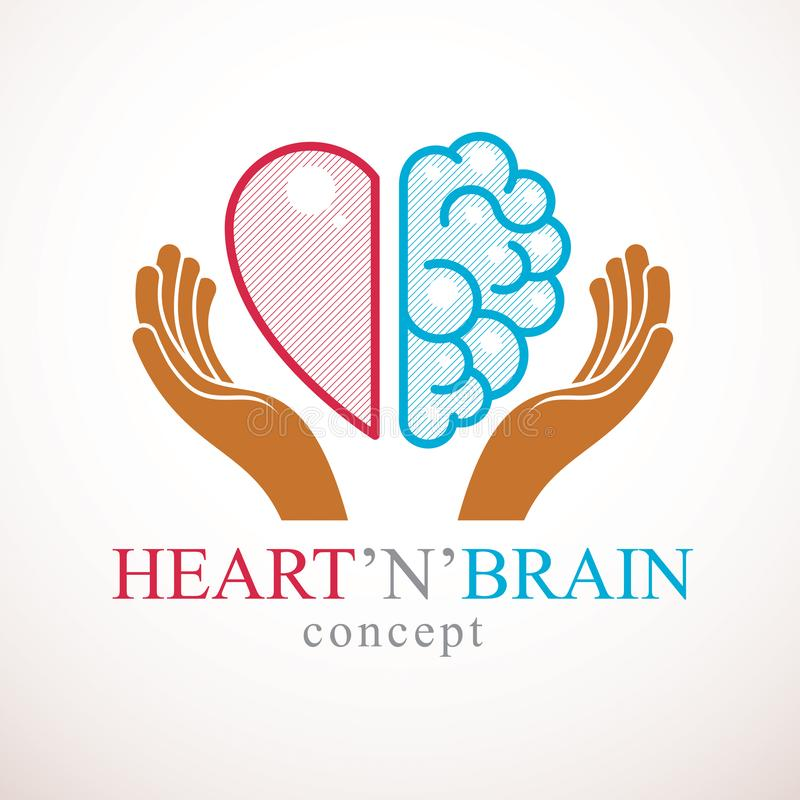 Heart and Brain concept, conflict between emotions and rational thinking, teamwork and balance between soul and intelligence. royalty free illustration