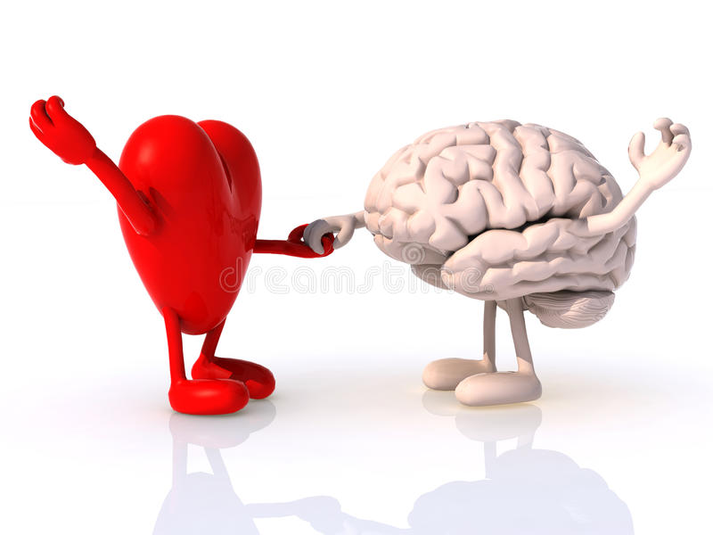Heart and brain that dance. Concept of physical wellbeing royalty free illustration
