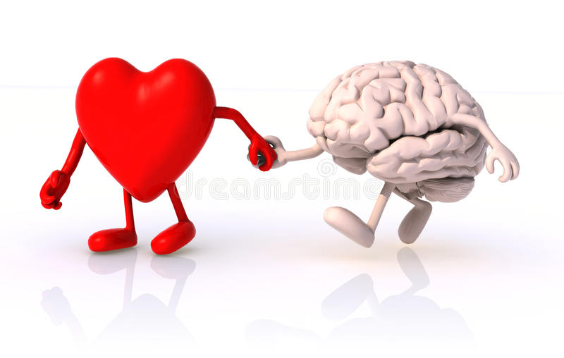 Heart and brain hand in hand vector illustration