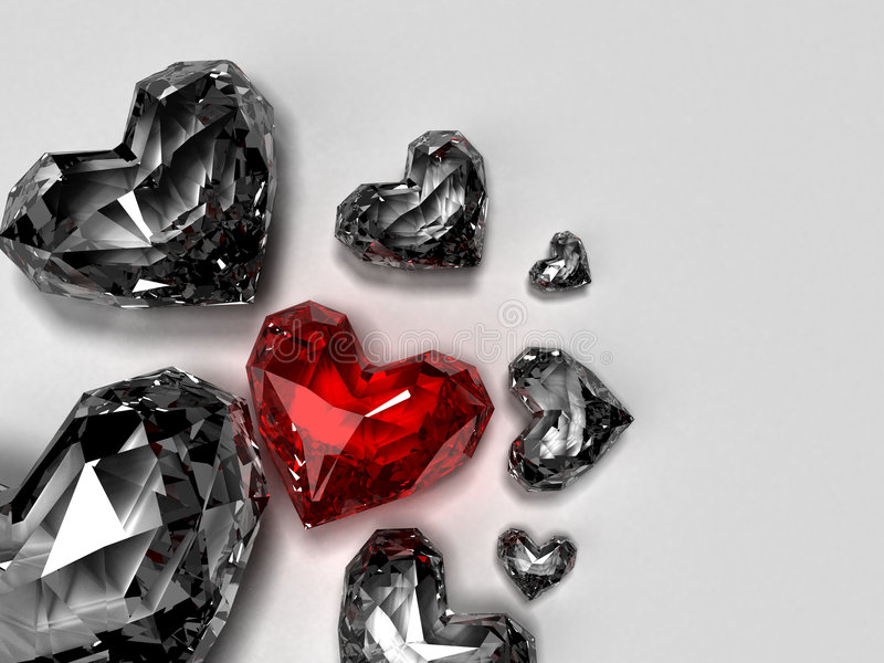 Heart brilliants. 3d rendered illustration of white and one red brilliant heart royalty free illustration