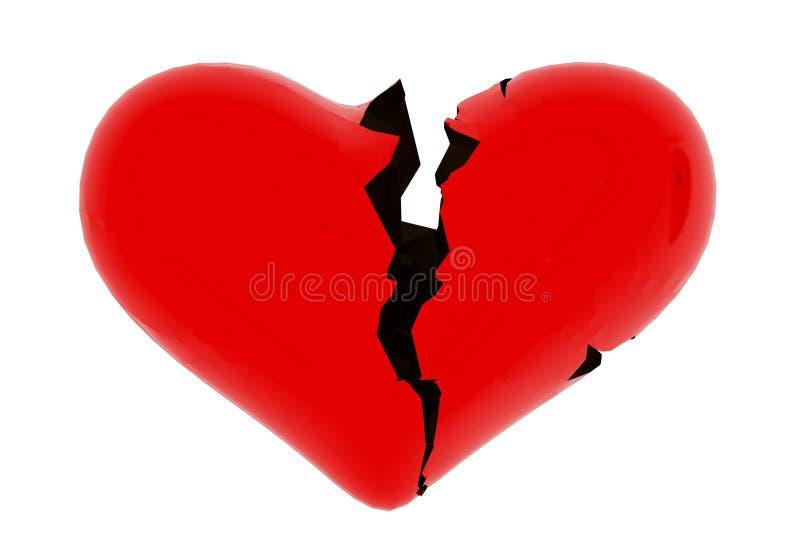 Heart broken devorce red - 3d rendering royalty free illustration
