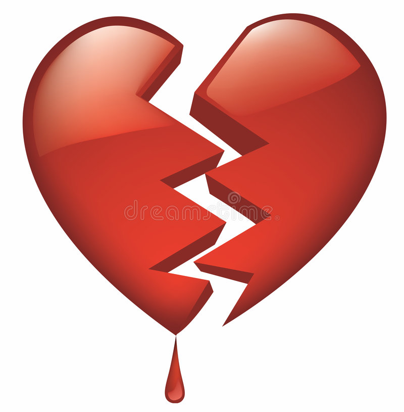 Download Heart Broken Glassy With Blood Droplet Stock Vector - Image: 1849042