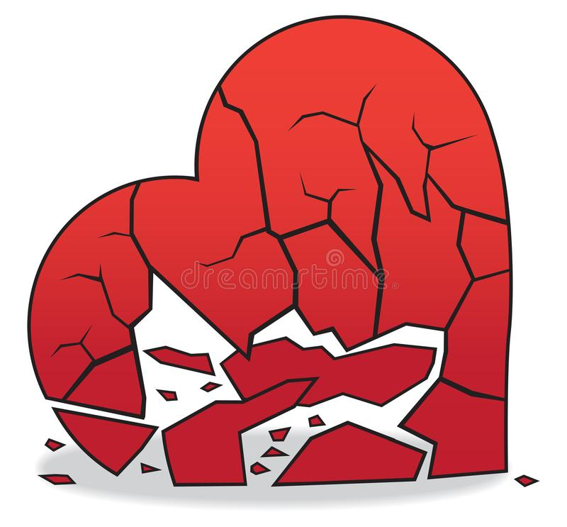 Heart Broken to Pieces. A heart is lying on the floor broken into several pieces vector illustration