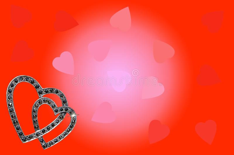 Heart Brooch on red and pink background. royalty free stock photo