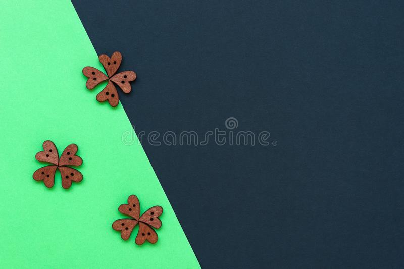 Heart of buttons in the form of clover leaves for the feast of Saint Patrick. royalty free stock photos